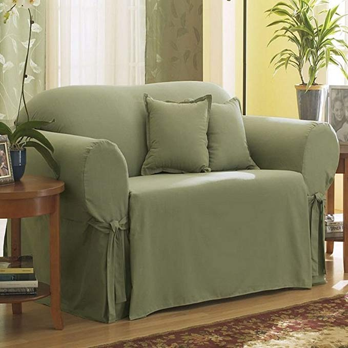 Sure Fit Cotton Duck - Loveseat Slipcover - Sage (SF33051)