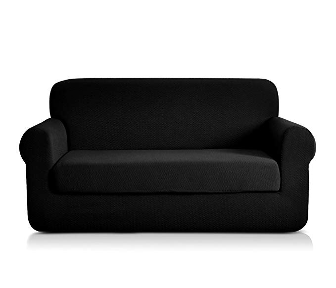 CHUN YI 2-Piece Sofa Covers Seersucker Jacquard Polyester Spandex Fabric Stretch Tough Couch Slipcovers (Loveseat, Black)
