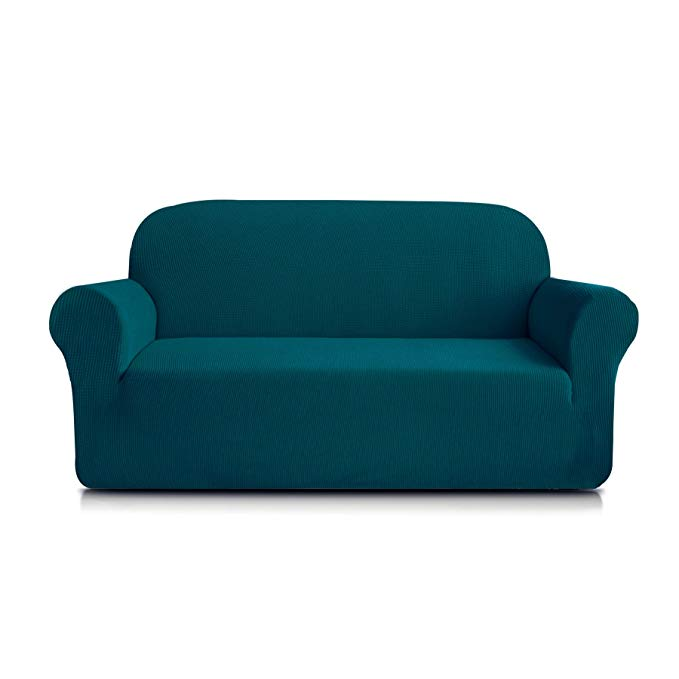 Subrtex 1-Piece Spandex Stretch Sofa Slipcover (Loveseat, Blue)