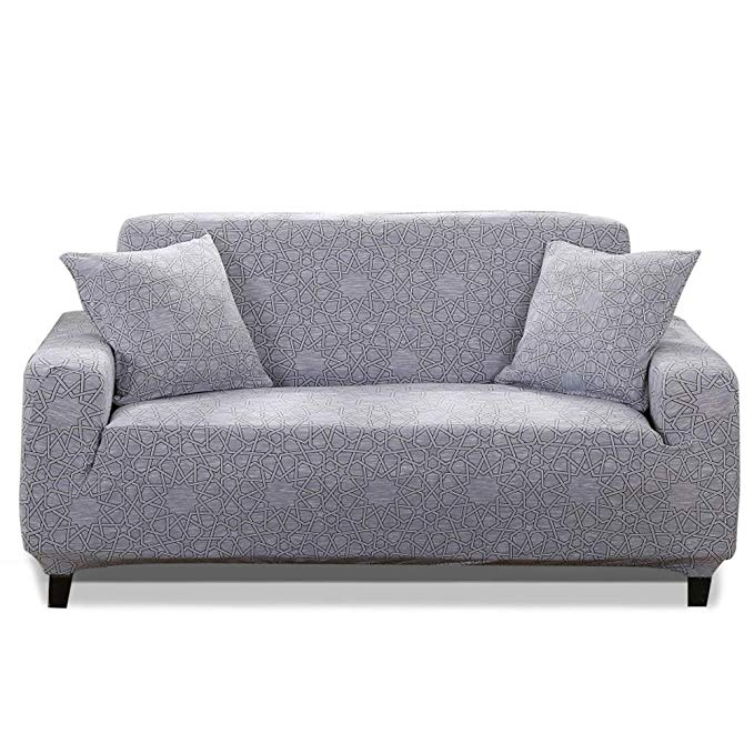 HOTNIU 1-Piece Stretch Sofa Couch Covers - Spandex Printed Loveseat Couch Slipcovers - Arm-chair Furniture Cover/Protector Elastic Bottom Straps, Anti-Slip Foams (Loveseat, Printed #48)