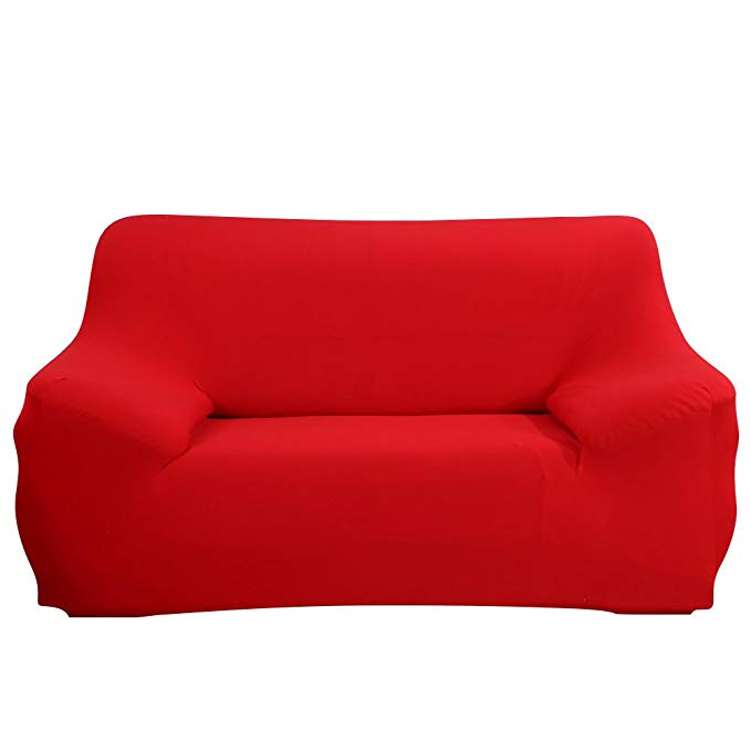 JIAN YA NA Stretch Loveseat Covers Polyester Spandex Fabric Slipcover 1pcsFurniture Protector Slipcovers + 1pcs Pillow Covers for 2 Seater Cover Couch (Red)