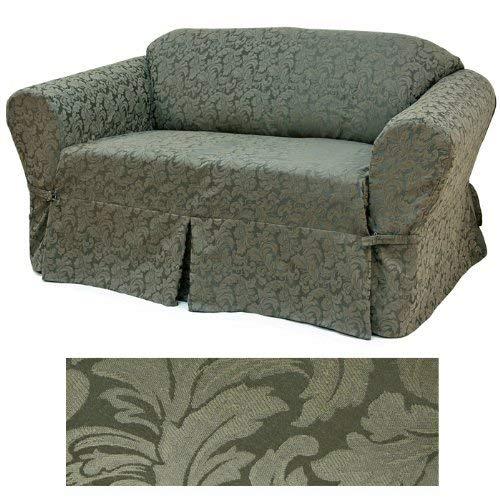 Damask Olive Furniture Slipcover Loveseat 584