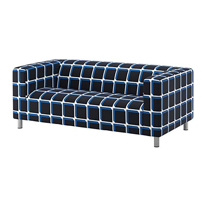 IKEA Klippan Loveseat Cover, Alvared Black-Blue (Cover Only)