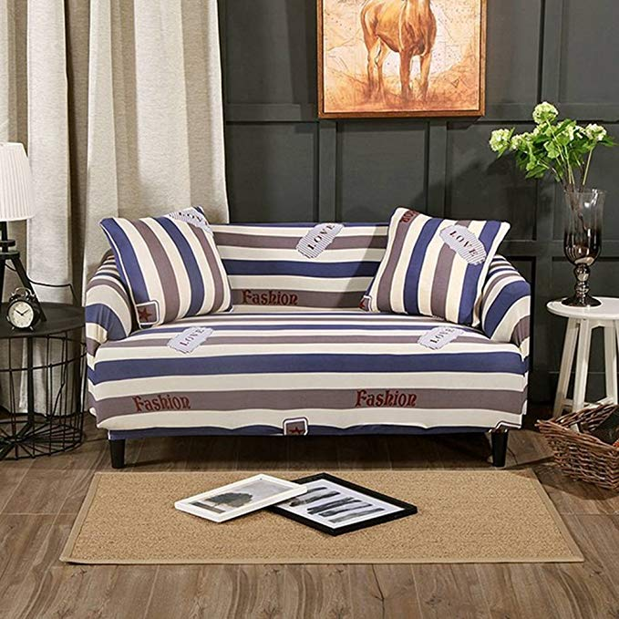 SKY-HAWK Furniture Protector Sofa Slipcovers Home Dector Stripes Couch/Corner Cover for Living Room Stretch Sectional Sofa Case