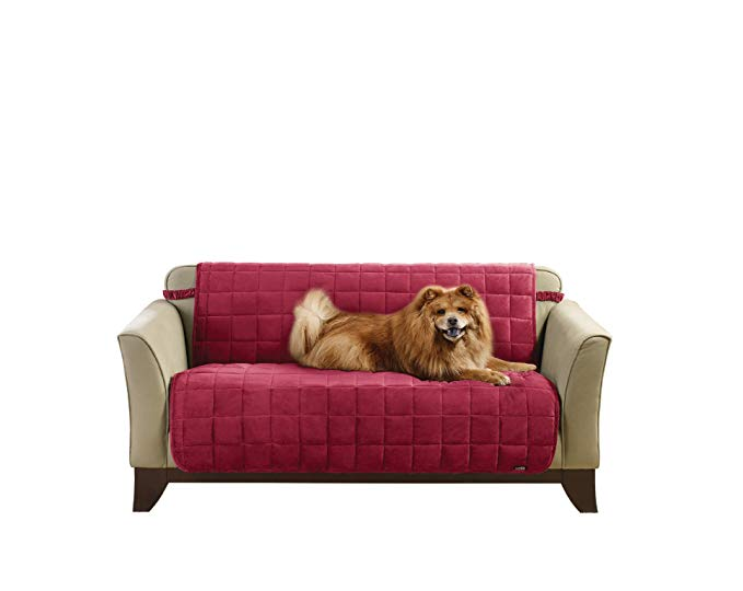 Sure Fit Armless Deluxe Pet Cover Slipcover - (SF42418) Armless Deluxe Pet Cover Slipcover, Burgundy, Loveseat