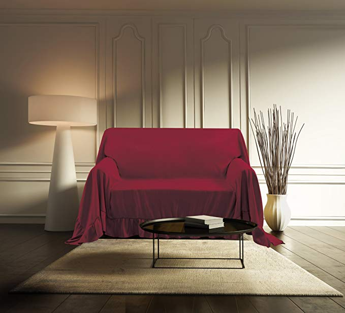 Kashi Home FT016187 Venice Furniture Loveseat Throw, Ruby