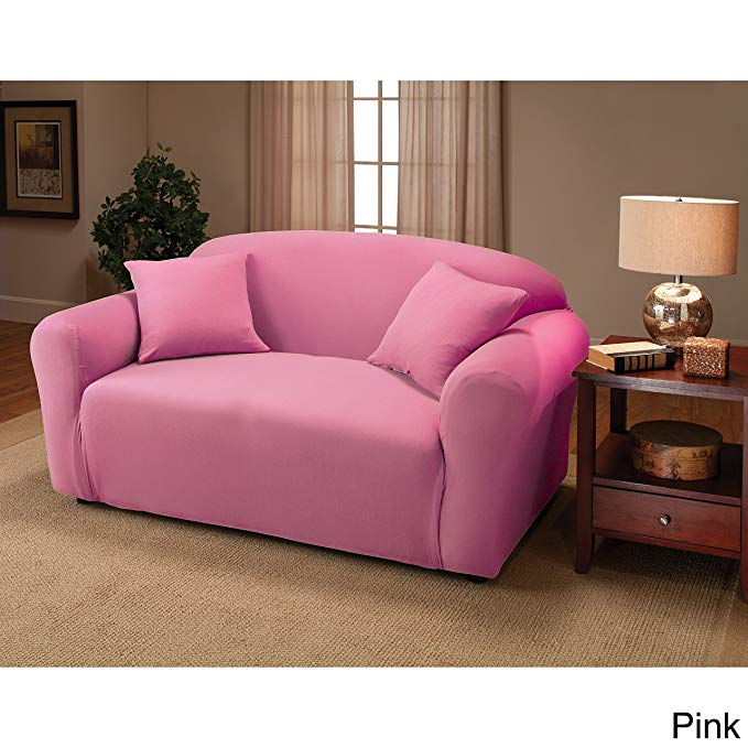 Madison JER-LOVE-PK Stretch Jersey Loveseat Slipcover, Solid, Pink